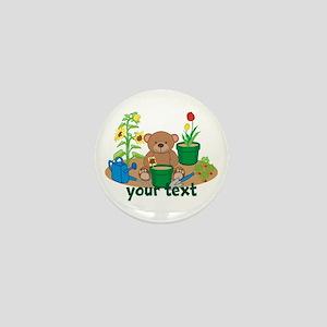 Personalized Garden Teddy Bear Mini Button