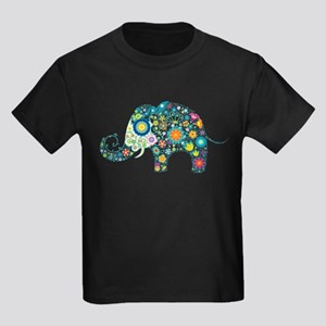 Colorful Retro Floral Elephant T-Shirt