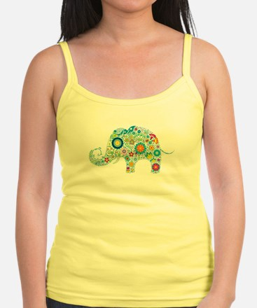 Colorful Retro Floral Elephant Tank Top
