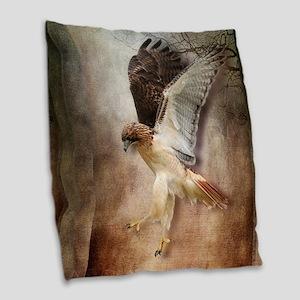 Evening Hawk Burlap Throw Pillow