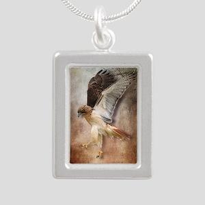 Evening Hawk Silver Portrait Necklace