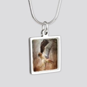 Evening Hawk Silver Square Necklace
