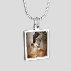 Evening Hawk Silver Square Necklace