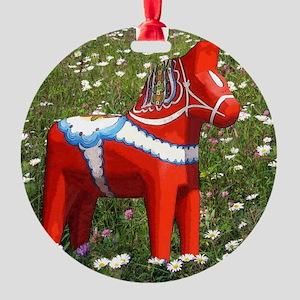 Dala Horse In Wildflowers Round Ornament