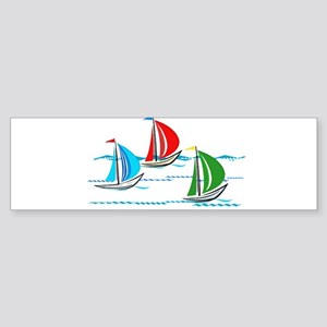 Yacht Race of Three Boats Bumper Sticker