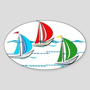 Yacht Race of Three Boats Sticker