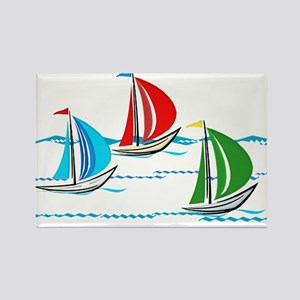 Yacht Race of Three Boats Magnets