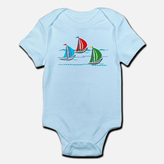Yacht Race of Three Boats Body Suit