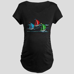 Yacht Race of Three Boats Maternity T-Shirt