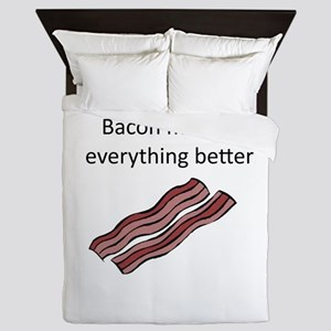 bacon makes everything better Queen Duvet