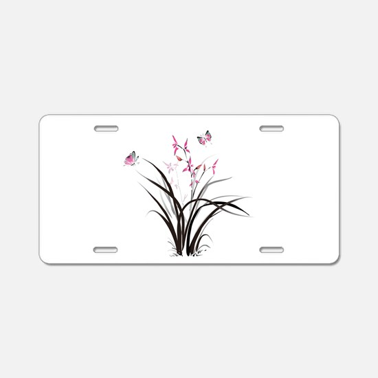 Chinese Orchids Aluminum License Plate