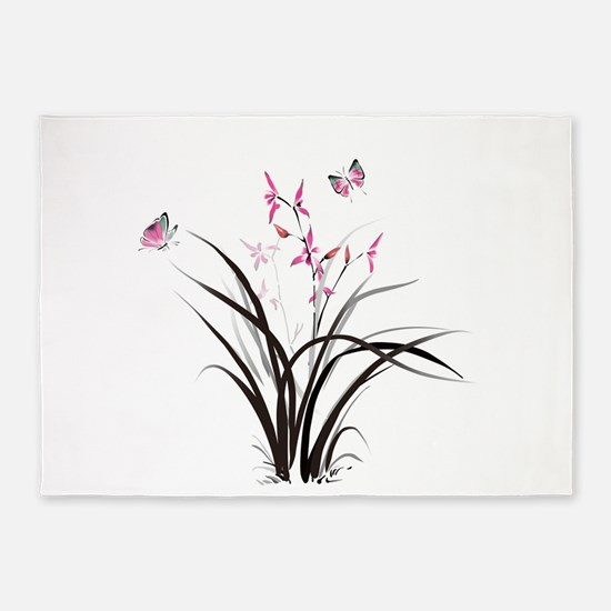 Chinese Orchids 5'x7'Area Rug