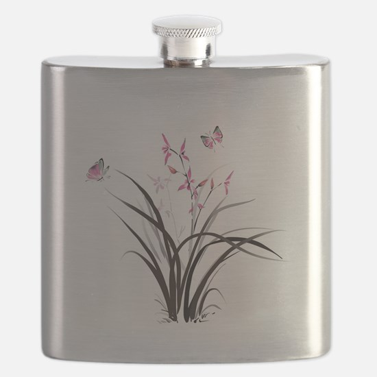 Chinese Orchids Flask