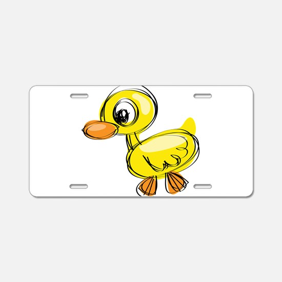 Sketched Duck Aluminum License Plate