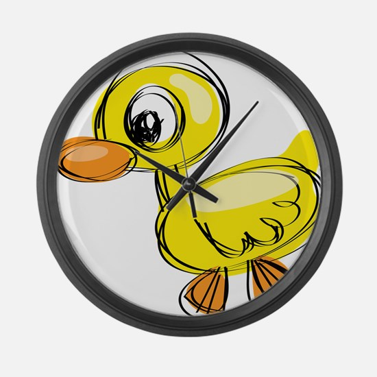 Sketched Duck Large Wall Clock