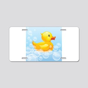 Duck in Bubbles Aluminum License Plate