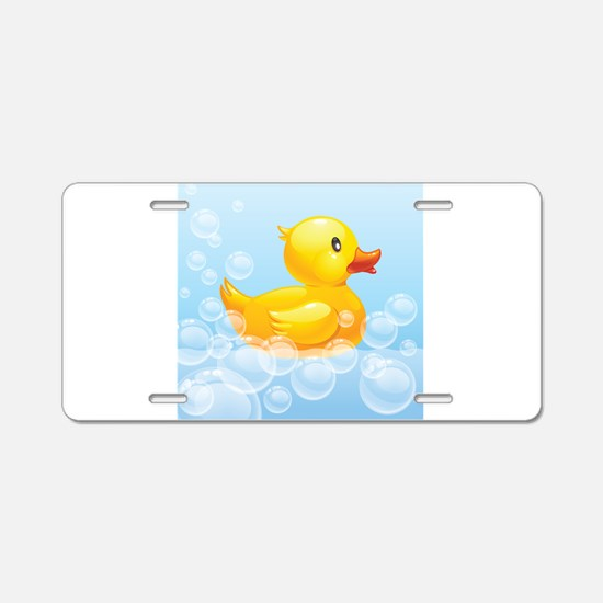 Duck in Bubbles Aluminum License Plate