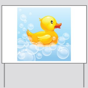Duck in Bubbles Yard Sign