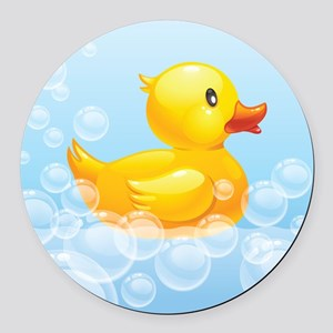 Duck in Bubbles Round Car Magnet