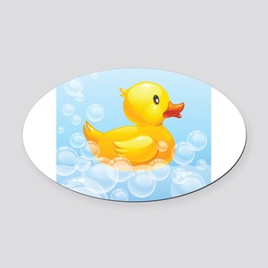 Duck in Bubbles Oval Car Magnet