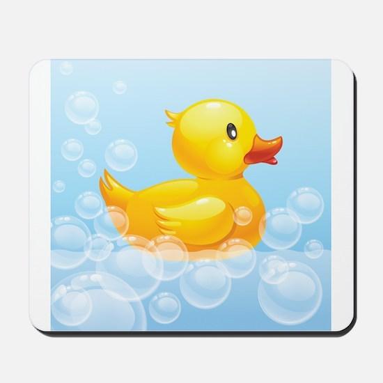 Duck in Bubbles Mousepad