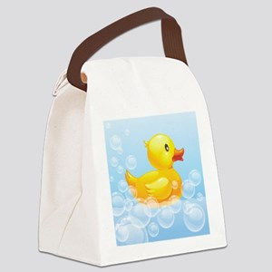 Duck in Bubbles Canvas Lunch Bag