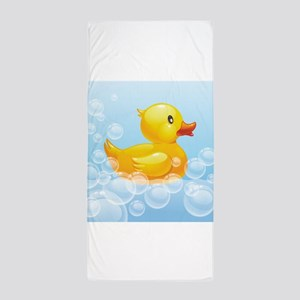 Duck in Bubbles Beach Towel