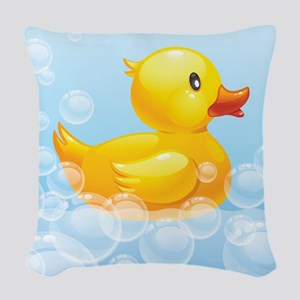 Duck in Bubbles Woven Throw Pillow