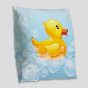 Duck in Bubbles Burlap Throw Pillow