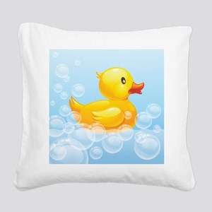 Duck in Bubbles Square Canvas Pillow