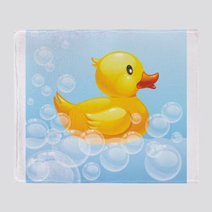 Duck in Bubbles Throw Blanket