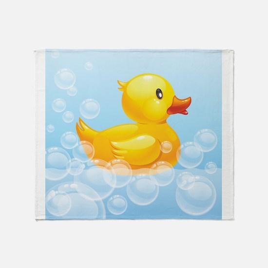 Duck in Bubbles Throw Blanket