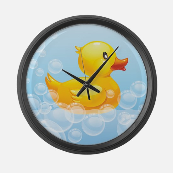 Duck in Bubbles Large Wall Clock