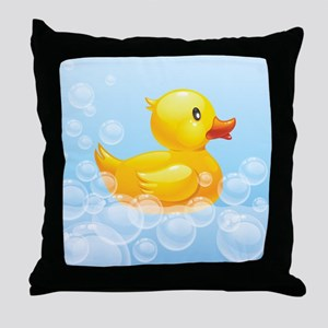Duck in Bubbles Throw Pillow