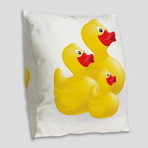 Trio of Ducks Burlap Throw Pillow