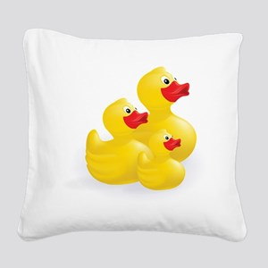Trio of Ducks Square Canvas Pillow