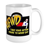 Action Figure Work Day logo Mugs