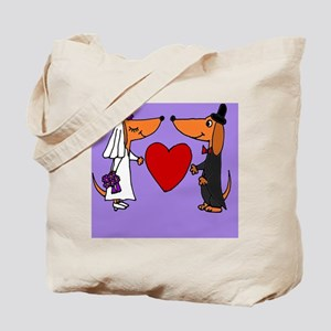 Dachshund Wedding Tote Bag