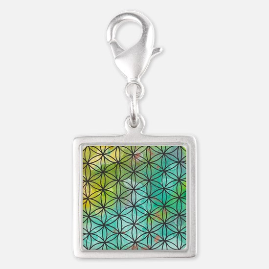 Sacred Geometry Silver Square Charm