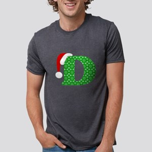 Christmas Monogram Letter D Mens Tri-blend T-Shirt
