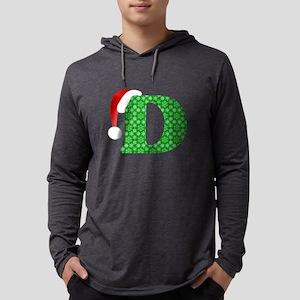 Christmas Monogram Letter D Mens Hooded Shirt