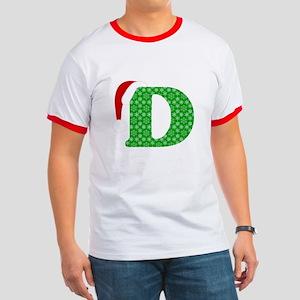 Christmas Monogram Letter D Ringer T