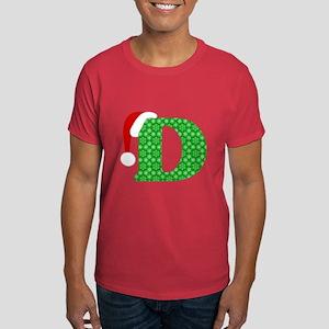 Christmas Monogram Letter D Dark T-Shirt