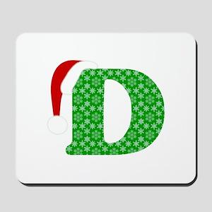 Christmas Monogram Letter D Mousepad