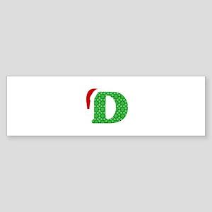 Christmas Monogram Letter D Sticker (Bumper)