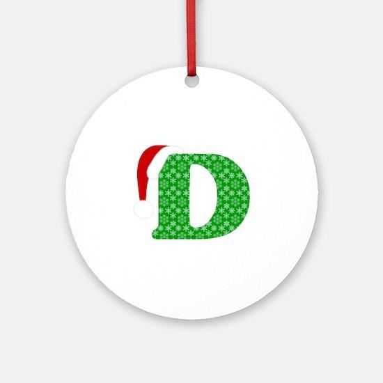 Christmas Monogram Letter D Round Ornament
