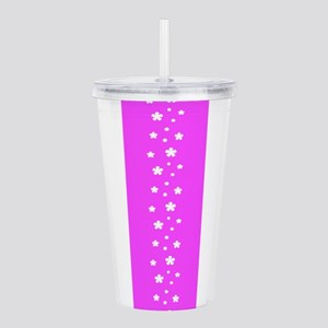 Pink Retro Floral Acrylic Double-Wall Tumbler