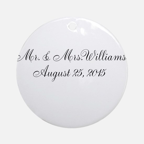 Personalized Wedding Name Date Ornament (Round)