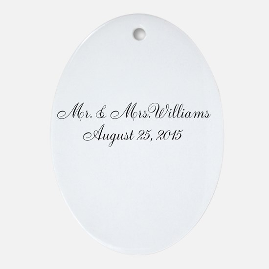 Personalized Wedding Name Date Ornament (Oval)