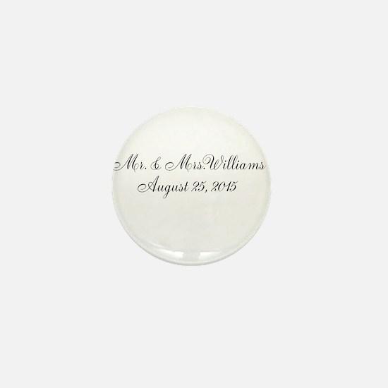 Personalized Wedding Name Date Mini Button
